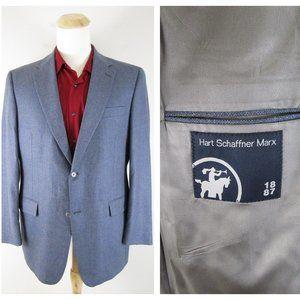 Hart Schaffner Marx Blue Gray Tweed Sport Coat 42
